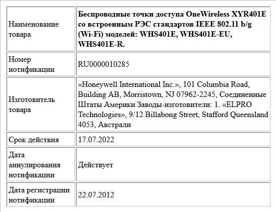 Беспроводные точки доступа OneWireless XYR401E со встроенным РЭС стандартов IEEE 802.11 b/g (Wi-Fi) моделей: WHS401E, WHS401E-EU, WHS401E-R.