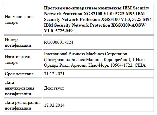 Программно-аппаратные комплексы IBM Security Network Protection XGS3100 V1.0: 5725-M93 IBM Security Network Protection XGS3100 V1.0, 5725-M94 IBM Security Network Protection XGS3100-AOSW V1.0, 5725-M9...