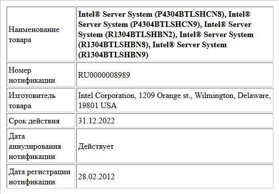 Intel® Server System (P4304BTLSHCN8), Intel® Server System (P4304BTLSHCN9), Intel® Server System (R1304BTLSHBN2), Intel® Server System (R1304BTLSHBN8), Intel® Server System (R1304BTLSHBN9)
