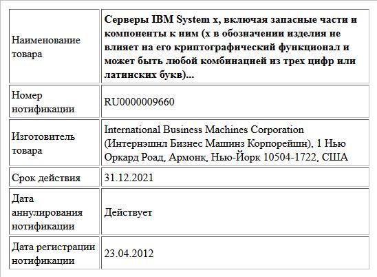 Серверы IBM System x, включая запасные части и компоненты к ним (x в обозначении изделия не влияет на его криптографический функционал и может быть любой комбинацией из трех цифр или латинских букв)...