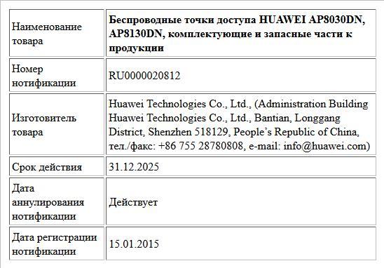 Беспроводные точки доступа HUAWEI AP8030DN, AP8130DN, комплектующие и запасные части к продукции