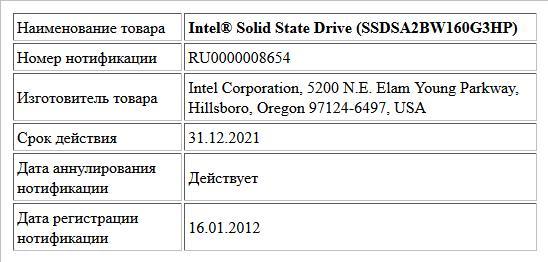 Intel® Solid State Drive (SSDSA2BW160G3HP)