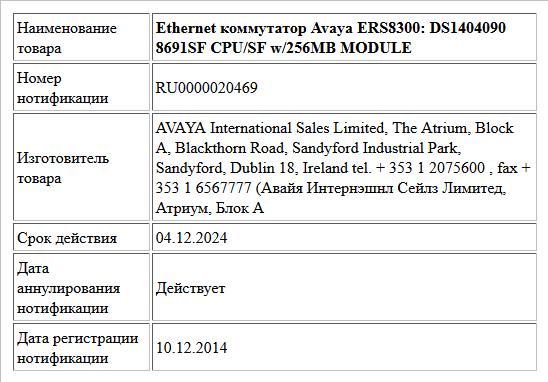 Ethernet коммутатор Avaya ERS8300: DS1404090 8691SF CPU/SF w/256MB MODULE