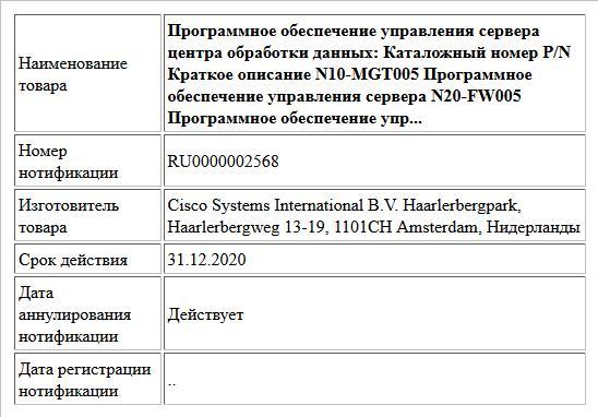 Программное обеспечение управления сервера центра обработки данных: Каталожный номер P/N Краткое описание N10-MGT005 Программное обеспечение управления сервера N20-FW005 Программное обеспечение упр...