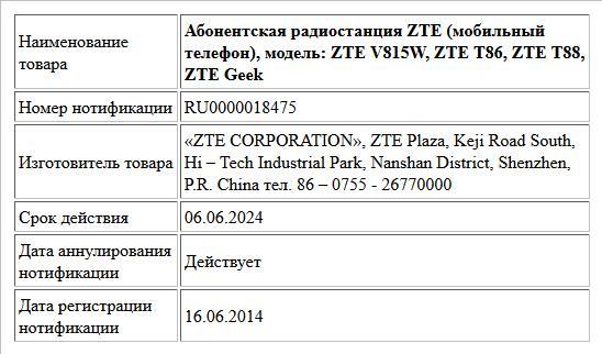 Абонентская радиостанция ZTE (мобильный телефон), модель: ZTE V815W, ZTE  T86, ZTE T88, ZTE Geek