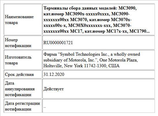 Терминалы сбора данных моделей: MC3090, кат.номер MC3090x-xxxxx0xxxx, MC3090-xxxxxxx00xx; MC3070, кат.номер MC3070x-xxxxx00x-x, MC30X0xxxxxxx-xxx, MC3070-xxxxxxx00xx; MC17, кат.номер MC17x-xx, MC1790-...