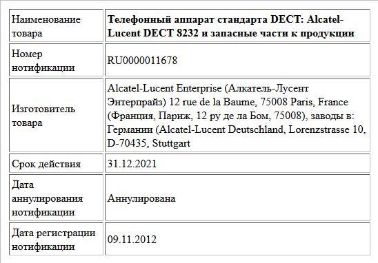 Телефонный аппарат стандарта DECT: Alcatel-Lucent DECT 8232 и запасные части к продукции
