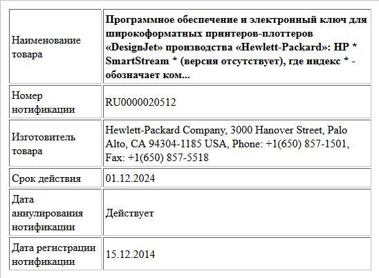 Программное обеспечение и электронный ключ для широкоформатных принтеров-плоттеров «DesignJet» производства «Hewlett-Packard»: HP * SmartStream * (версия отсутствует), где индекс * -  обозначает ком...