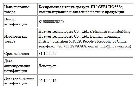 Беспроводная точка доступа HUAWEI HG552e, комплектующие и запасные части к продукции