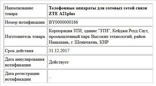 Телефонные аппараты для сотовых сетей связи ZTE A21plus