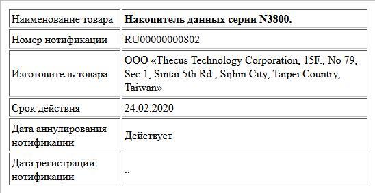 Накопитель данных серии N3800.