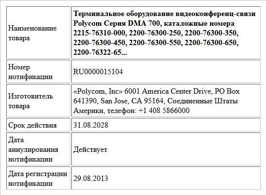 Терминальное оборудование видеоконференц-связи Polycom Серия DMA 700,  каталожные номера 2215-76310-000, 2200-76300-250, 2200-76300-350, 2200-76300-450, 2200-76300-550, 2200-76300-650, 2200-76322-65...