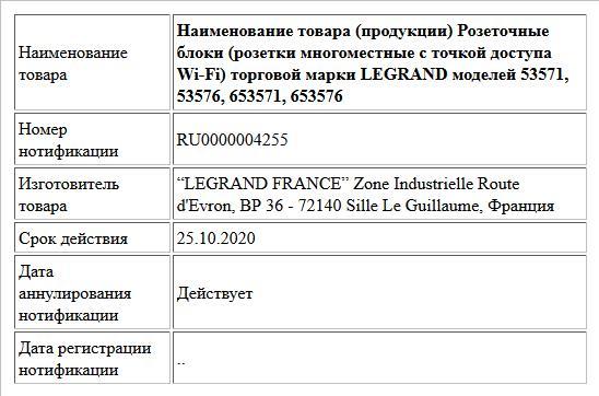 Наименование товара (продукции) Розеточные блоки (розетки многоместные c точкой доступа Wi-Fi) торговой марки LEGRAND моделей 53571, 53576, 653571, 653576