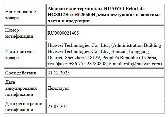 Абонентские терминалы HUAWEI EchoLife HG8012H и HG8040H, комплектующие и запасные части к продукции