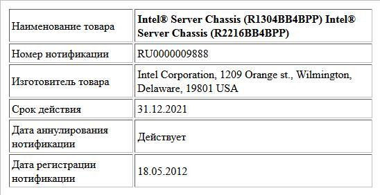 Intel® Server Chassis (R1304BB4BPP) Intel® Server Chassis (R2216BB4BPP)
