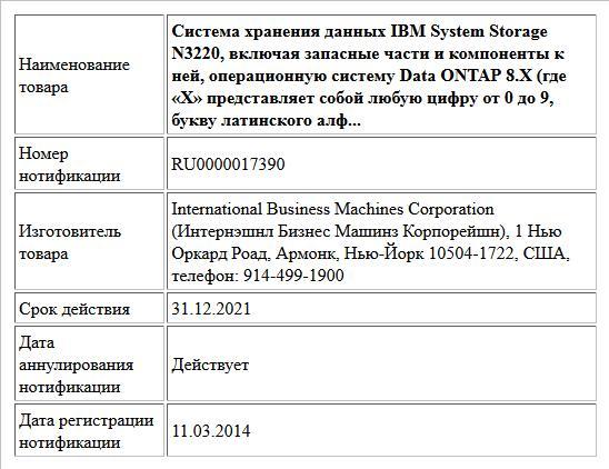 Система хранения данных IBM System Storage N3220, включая запасные части и компоненты к ней, операционную систему Data ONTAP 8.Х (где «Х» представляет собой любую цифру от 0 до 9, букву латинского алф...