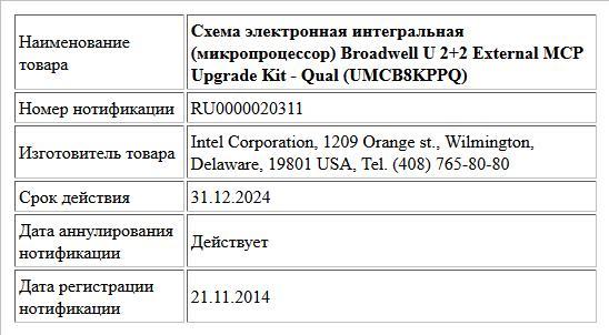 Схема электронная интегральная (микропроцессор) Broadwell U 2+2 External MCP Upgrade Kit - Qual (UMCB8KPPQ)