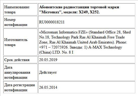 Абонентские радиостанции торговой марки ''Micromax'', модели: Х249, Х252.