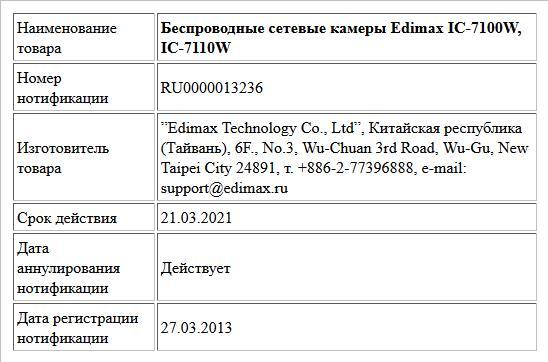 Беспроводные сетевые камеры Edimax IC-7100W, IC-7110W