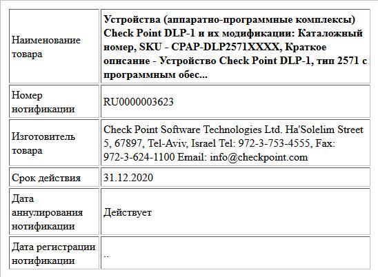 Устройства (аппаратно-программные комплексы) Check Point DLP-1 и их модификации: Каталожный номер, SKU - CPAP-DLP2571XXXX, Краткое описание - Устройство Check Point DLP-1, тип 2571 с программным обес...