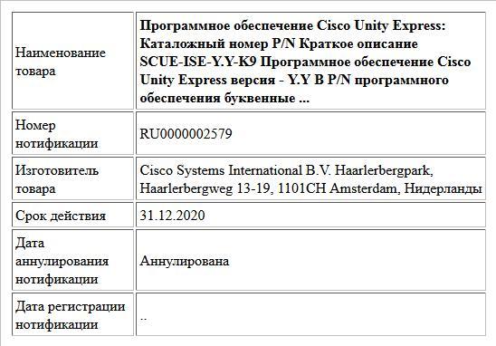 Программное обеспечение Cisco Unity Express: Каталожный номер P/N Краткое описание SCUE-ISE-Y.Y-K9 Программное обеспечение Cisco Unity Express версия - Y.Y В P/N программного обеспечения буквенные ...