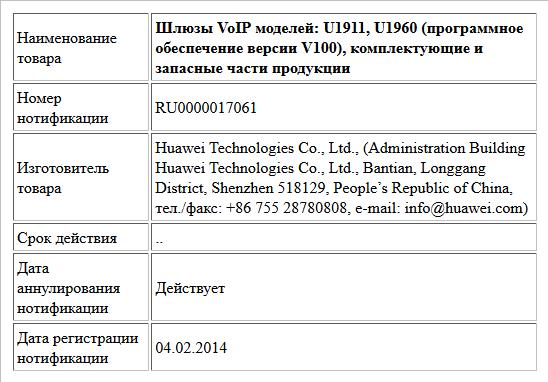 Шлюзы VoIP моделей: U1911, U1960 (программное обеспечение версии V100), комплектующие и запасные части продукции