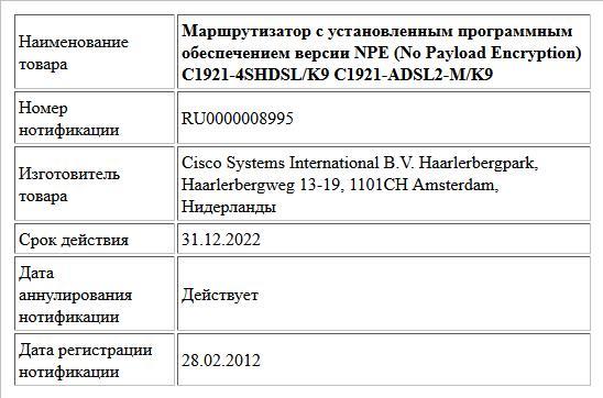 Маршрутизатор с установленным программным обеспечением версии NPE (No Payload Encryption) C1921-4SHDSL/K9 C1921-ADSL2-M/K9