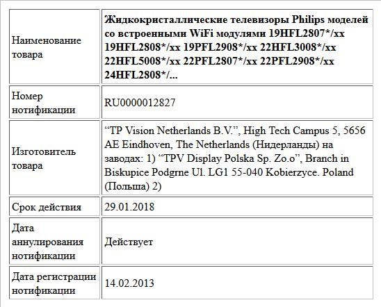 Жидкокристаллические телевизоры Philips моделей со встроенными WiFi модулями 19HFL2807*/xx   19HFL2808*/xx   19PFL2908*/xx 22HFL3008*/xx   22HFL5008*/xx   22PFL2807*/xx 22PFL2908*/xx    24HFL2808*/...