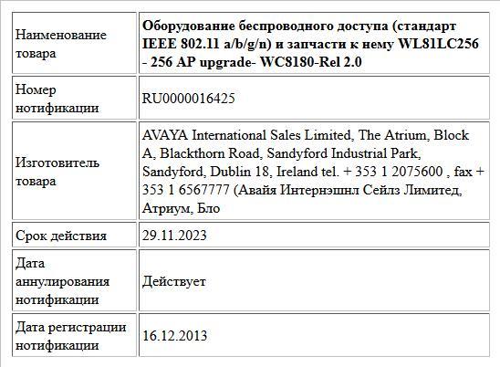 Оборудование беспроводного доступа (стандарт  IEEE 802.11 a/b/g/n) и запчасти к нему WL81LC256  -   256 AP upgrade- WC8180-Rel 2.0