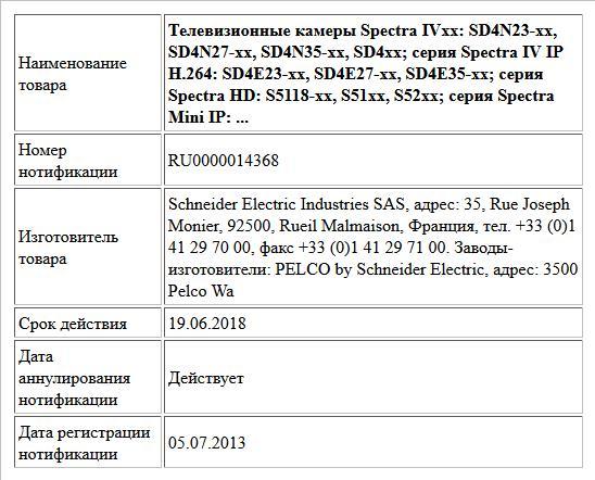 Телевизионные камеры Spectra IVxx: SD4N23-xx, SD4N27-xx, SD4N35-xx, SD4xx; серия Spectra IV IP H.264: SD4E23-xx, SD4E27-xx, SD4E35-xx; серия Spectra HD: S5118-xx, S51xx, S52xx; серия Spectra Mini IP: ...