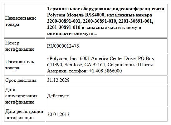 Терминальное оборудование видеоконференц-связи Polycom Модель RSS4000, каталожные номера 2200-30891-001,  2200-30891-010, 2201-30891-001, 2201-30891-010 и запасные части к нему в комплекте: коммута...