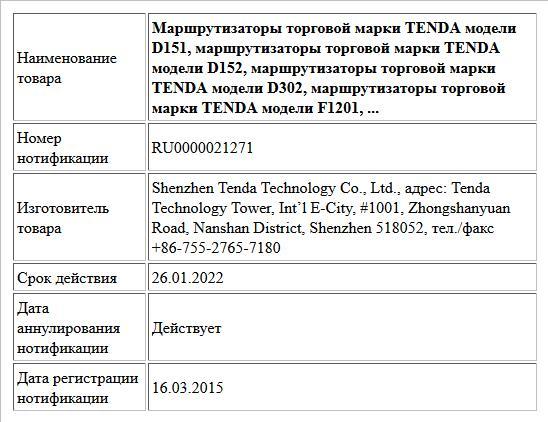 Маршрутизаторы торговой марки TENDA модели D151, маршрутизаторы торговой марки TENDA модели D152, маршрутизаторы торговой марки TENDA модели D302, маршрутизаторы торговой марки TENDA модели F1201, ...