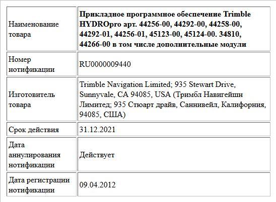 Прикладное программное обеспечение Trimble HYDROpro арт. 44256-00, 44292-00, 44258-00, 44292-01, 44256-01, 45123-00, 45124-00. 34810, 44266-00 в том числе дополнительные модули