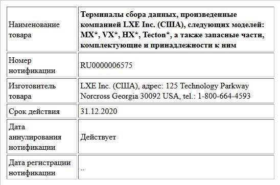 Терминалы сбора данных, произведенные компанией LXE Inc. (США), следующих моделей: MX*, VX*, HX*, Tecton*, а также запасные части, комплектующие и принадлежности к ним