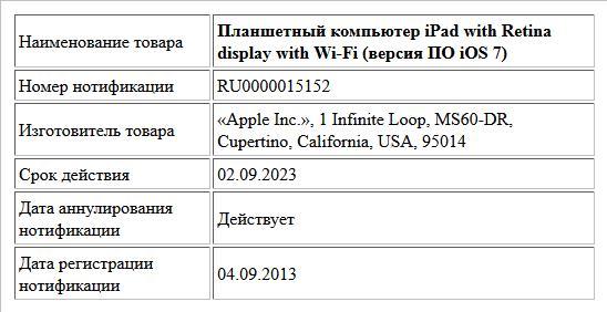 Планшетный компьютер iPad with Retina display with Wi-Fi (версия ПО iOS 7)