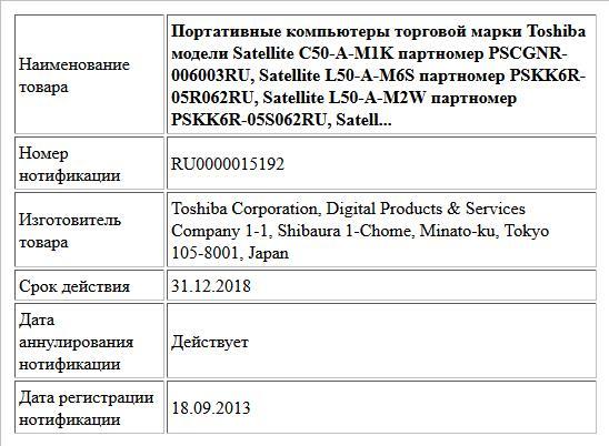 Портативные компьютеры торговой марки Toshiba модели Satellite C50-A-M1K партномер PSCGNR-006003RU, Satellite L50-A-M6S партномер PSKK6R-05R062RU, Satellite L50-A-M2W партномер PSKK6R-05S062RU, Satell...