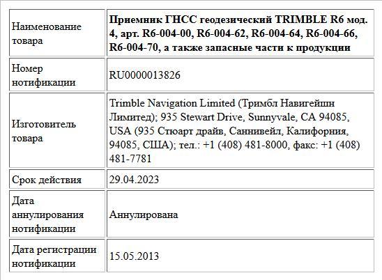 Приемник ГНСС геодезический TRIMBLE R6 мод. 4, арт. R6-004-00, R6-004-62, R6-004-64, R6-004-66, R6-004-70,  а также запасные части к продукции