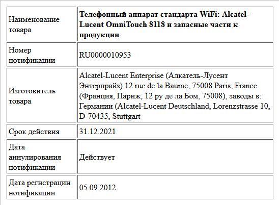 Телефонный аппарат стандарта WiFi: Alcatel-Lucent OmniTouch 8118 и запасные части к продукции