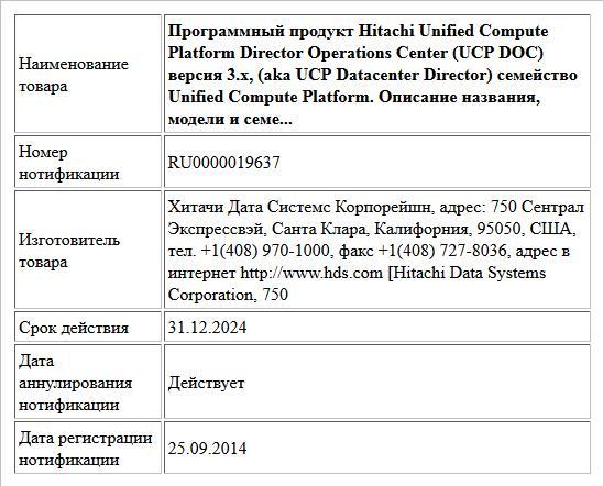 Программный продукт Hitachi Unified Compute Platform Director Operations Center (UCP DOC) версия 3.х, (aka UCP Datacenter Director) семейство Unified Compute Platform. Описание названия, модели и семе...