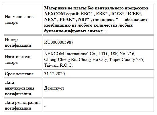 Материнские платы без центрального процессора NEXCOM серий: ЕВС* , ЕВК* , ICES* , ICEB*, NEX* , PEAK* , NBP* , где индекс * — обозначает комбинацию из любого количества любых буквенно-цифровых символ...