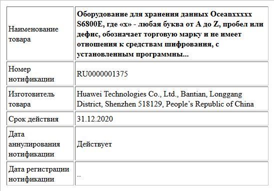 Оборудование для хранения данных Oceanххххх S6800E, где «х» - любая буква от A до Z, пробел или дефис, обозначает торговую марку и не имеет отношения к средствам шифрования, с установленным программны...