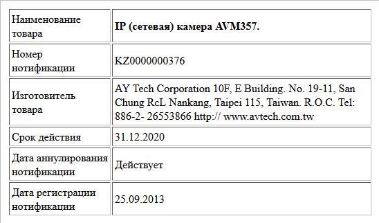 IP (сетевая) камера AVM357.