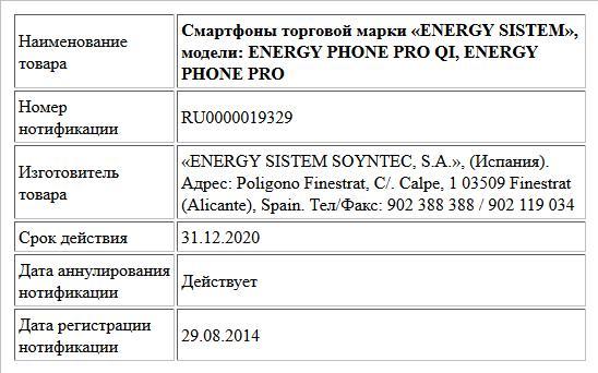 Смартфоны торговой марки «ENERGY SISTEM», модели: ENERGY PHONE PRO QI, ENERGY PHONE PRO