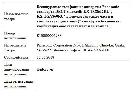 Бесшнуровые телефонные аппараты Panasonic стандарта DECT моделей: KX-TG8612RU*, KX-TGA860RU* включая запасные части и комплектующие к ним (* - «цифра – буквенная» комбинация обозначает цвет или компле...