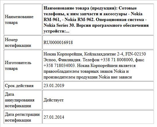 Наименование товара (продукции):  Сотовые телефоны, к ним запчасти и аксессуары - Nokia RM-961, - Nokia RM-962. Операционная система - Nokia Series 30.   Версия программного обеспечения устройств:...