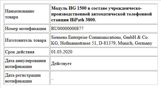 Модуль HG 1500 в составе учрежденческо-производственной автоматической телефонной станции HiPath 3800.