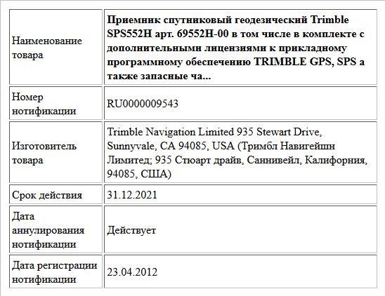 Приемник спутниковый геодезический  Trimble SPS552H  арт. 69552H-00  в том числе в комплекте с дополнительными лицензиями к прикладному программному обеспечению TRIMBLE GPS, SPS а также запасные ча...