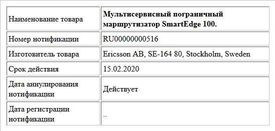 Мультисервисный пограничный маршрутизатор SmartEdge 100.