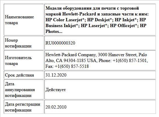 Модели оборудования для печати с торговой маркой Hewlett-Packard и запасные части к ним: HP Color Laserjet*; HP Deskjet*; HP Inkjet*; HP Business Inkjet*; HP Laserjet*; HP Officejet*; HP Photos...