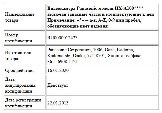 Видеокамера Panasonic модели  HX-A100**** включая запасные части и комплектующие к ней                  Примечание: «*» -- a-z, A-Z, 0-9 или пробел, обозначающие цвет изделия